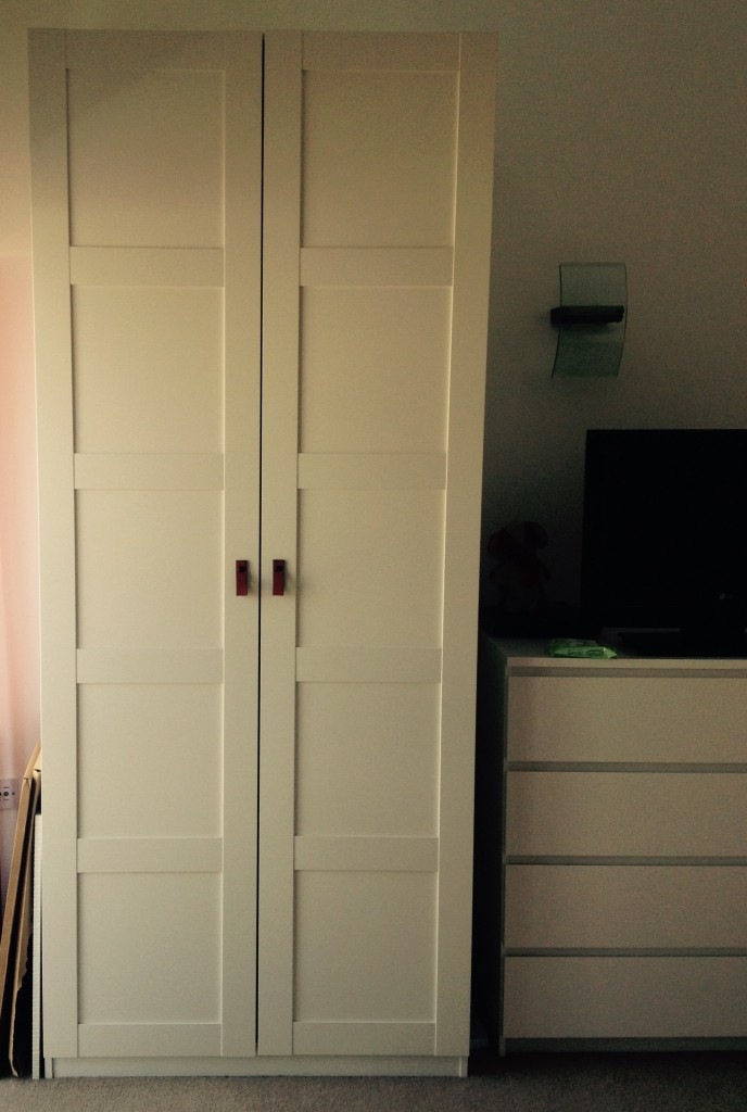 IKEA Pax wardrobe with leather loop handles